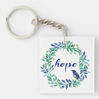 """Wreath And Bird Motivational Quote """"Hope"""" Keychain"""