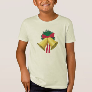 Wreath and Golden Bells, Red Bow T-Shirt