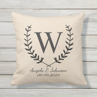 Wreath and Monogrammed Cotton Fabric Textured Throw Pillow
