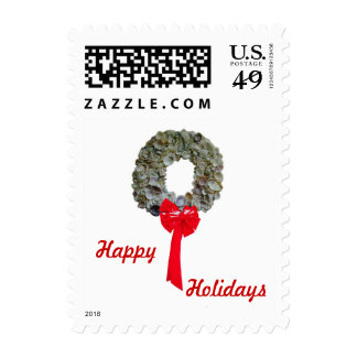 Wreath and Words Postage Stamp