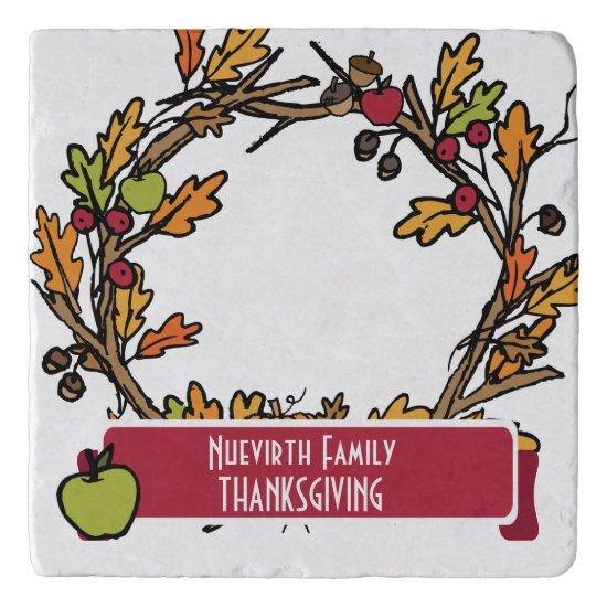 Wreath Art Thanksgiving Dinner Personalize Trivet