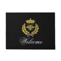 Wreath & Bee & Crown Your Color & Greeting Doormat