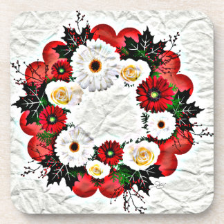 """Wreath """"Big Hearts"""" Red Flower Posterized Coasters"""