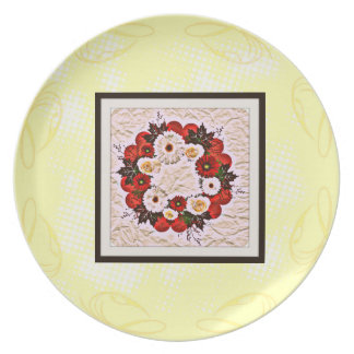 "Wreath ""Big Hearts"" Red Flowers Melamine Plate"
