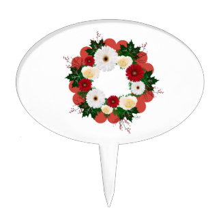 "Wreath ""Big Hearts"" Red/White Flowers Cake Pick"