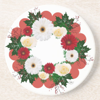 "Wreath ""Big Hearts"" Red/White Flowers Coasters"