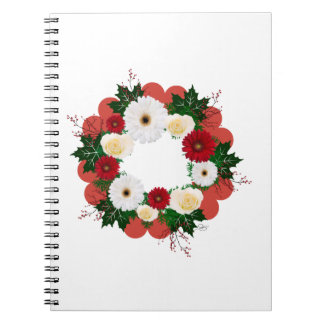 """Wreath """"Big Hearts"""" Red/White Flowers Notebook"""