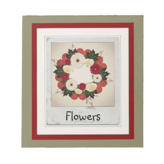 "Wreath ""Big Hearts"" Red/White Flowers Notepad"