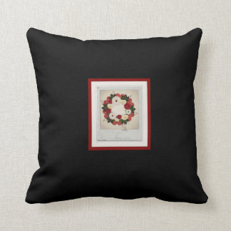 """Wreath """"Big Hearts"""" Red/White Flowers Pillow"""