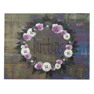 "Wreath ""Black Button"" Buttons Flowers Notepad"