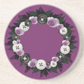 "Wreath ""Black Button"" Flowers Buttons Coasters"
