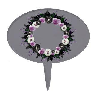 "Wreath ""Black Button"" Purple Flowers Cake Pick"