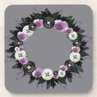"Wreath ""Black Button"" Purple Flowers Coasters"