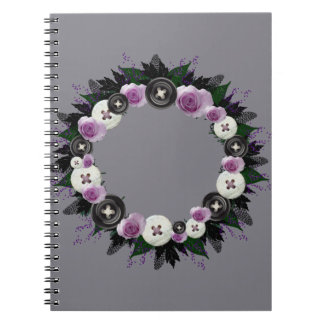 "Wreath ""Black Button"" Purple Flowers Notebook"