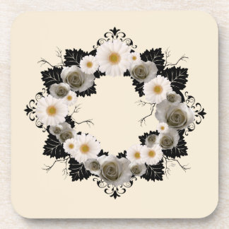"Wreath ""Black Leaf"" Gray/White Flowers Coasters"