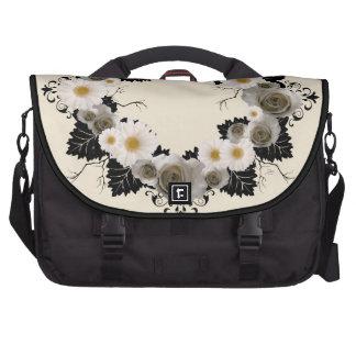 "Wreath ""Black Leaf"" Gray/White Flowers Laptop Bag"