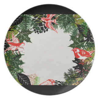 "Wreath ""Black Pine Cone"" Flowers Floral Plate"