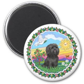 Wreath - Black Shih Tzu 2 Inch Round Magnet