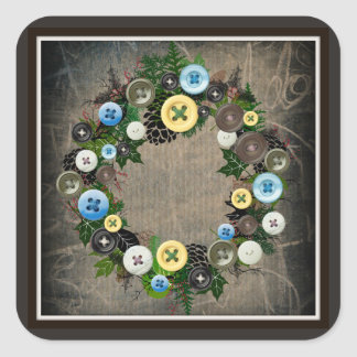 """Wreath """"Blooming Button"""" Button Pine Cone Stickers"""