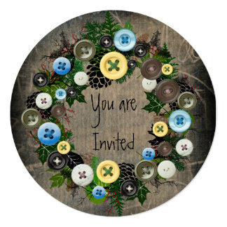 """Wreath """"Blooming Buttons"""" Blue Buttons Invitation"""