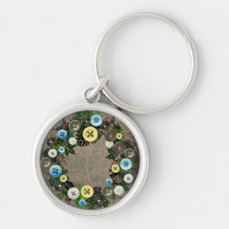 """Wreath """"Blooming Buttons"""" Blue Buttons Keychain"""