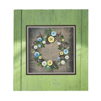 "Wreath ""Blooming Buttons"" Button Pine Cone Notepad"