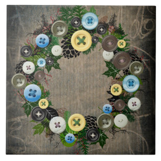 """Wreath """"Blooming Buttons"""" Button Pine Cones Trivet"""