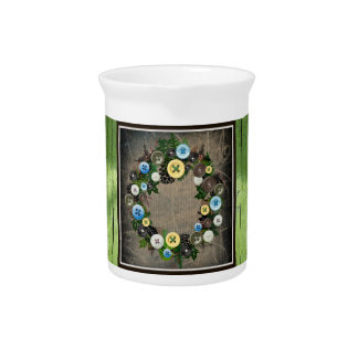 """Wreath """"Blooming Buttons"""" Button Porcelain Pitcher"""