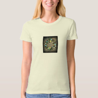 "Wreath ""Blooming Buttons"" Flowers Floral T-Shirt"