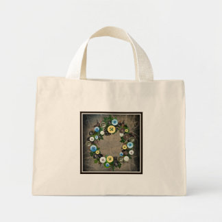 """Wreath """"Blooming Buttons"""" Flowers Floral Tote Bag"""