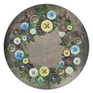 "Wreath ""Blooming Buttons"" Pine Cone Melamine Plate"