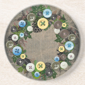"Wreath ""Blooming Buttons"" Pine Cones Coasters"