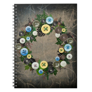 """Wreath """"Blooming Buttons"""" Pine Cones Notebook"""