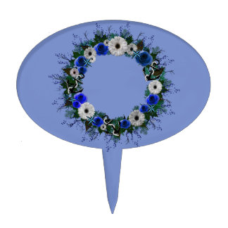 "Wreath ""Blue Anchor"" Blue/White Flowers Cake Pick"