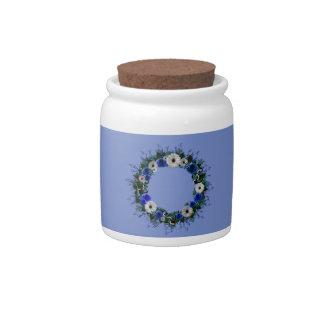 "Wreath ""Blue Anchor"" Blue/White Flowers Candy Jar"