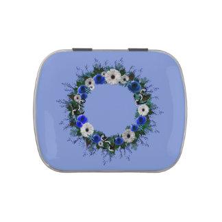 "Wreath ""Blue Anchor"" Blue/White Flowers Candy Tin"