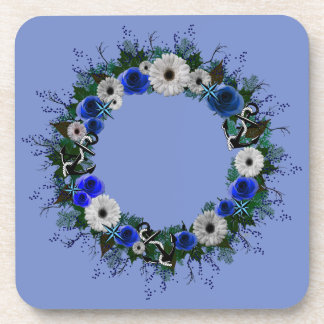 "Wreath ""Blue Anchor"" Blue/White Flowers Coasters"