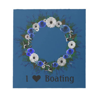 "Wreath ""Blue Anchor"" Blue/White Flowers Notepad"