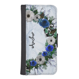 """Wreath """"Blue Anchor"""" iPhone/Samsung Wallet Case Phone Wallet Cases"""