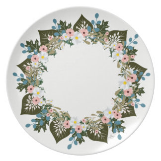 "Wreath ""Blue Dot"" Flowers Floral Melamine Plate"