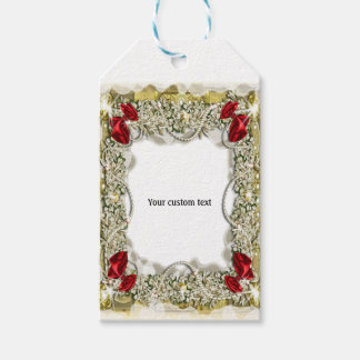 Wreath bow pearl snow gift tags