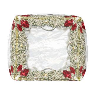 Wreath bow pearl snow pouf