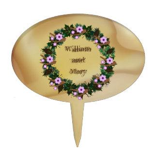 """Wreath """"Brown Twig"""" Purple Flowers Cake Pick"""