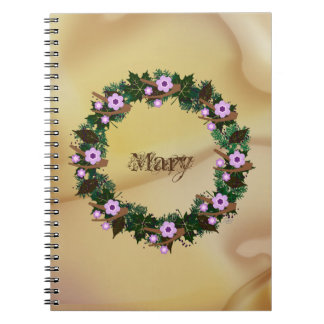 "Wreath ""Brown Twig"" Purple Flowers Notebook"