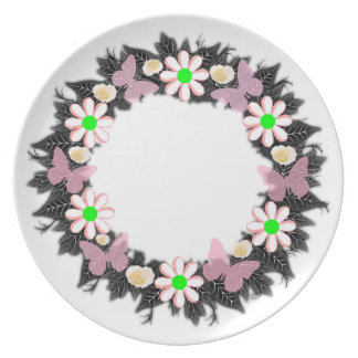 "Wreath ""Butterflow"" Flowers Floral Melamine Plate"