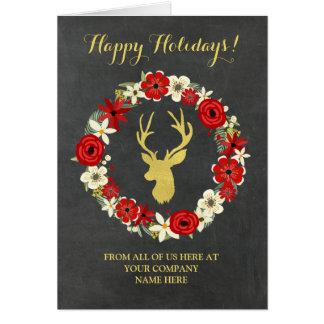 Wreath Chalkboard Gold Deer Corporate Christmas Card