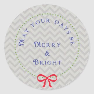 Wreath Chevron Christmas Sticker