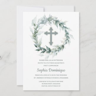 Wreath & Cross First Communion Invitations