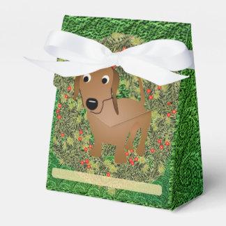 Wreath Dachshund Favor Box