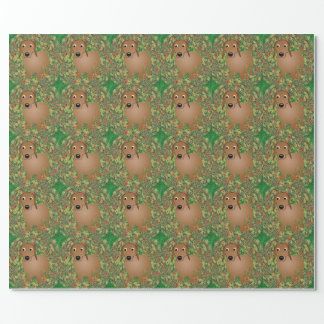 Wreath Dachshund Wrapping Paper